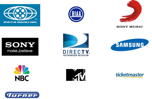 Motion Picture Association of America, Recording Industry Association of America Entertainment, Sony Music, Sony Electronics, DIRECTV, Samsung, NBC, MTV, Ticketmaster, Turner